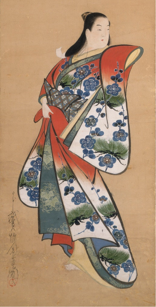 A painting on a hanging scroll of a Japanese beauty dressed in an elaborate and colorful kimono.