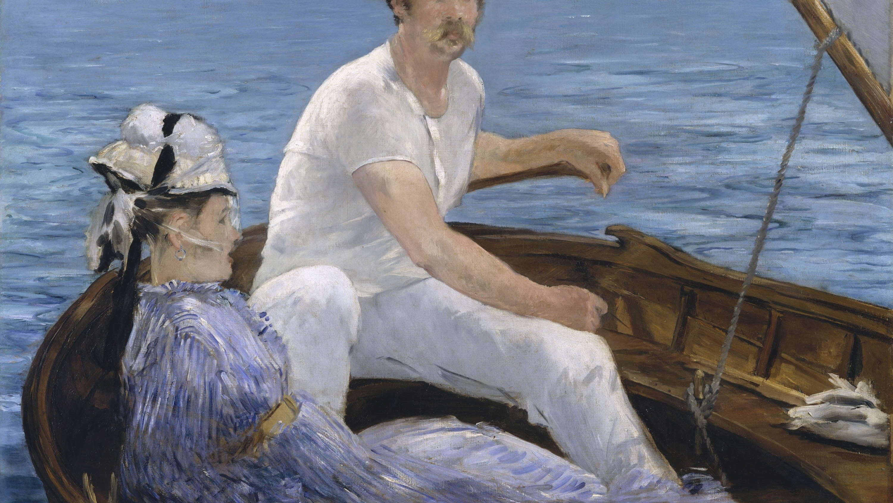 A painting of a couple boating, the man wears all white and a hat, the woman a fashionable blue dress and bonnet.
