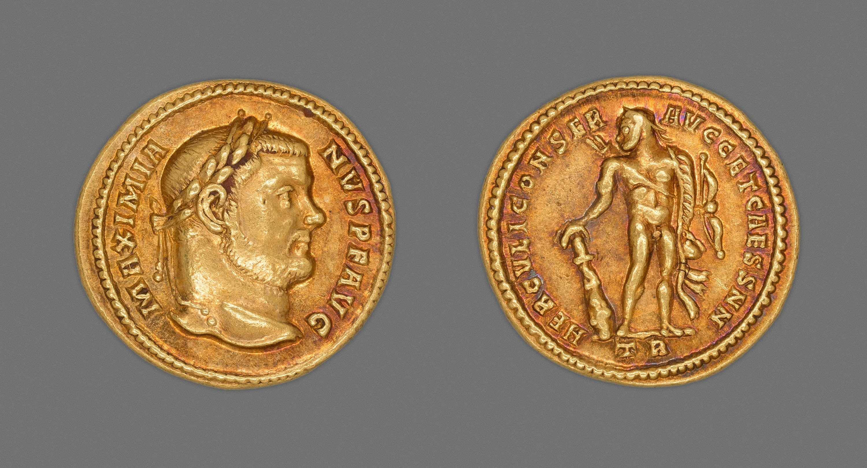 2016.189 Aureus Coin Portraying Emperor Maximianus Herculius