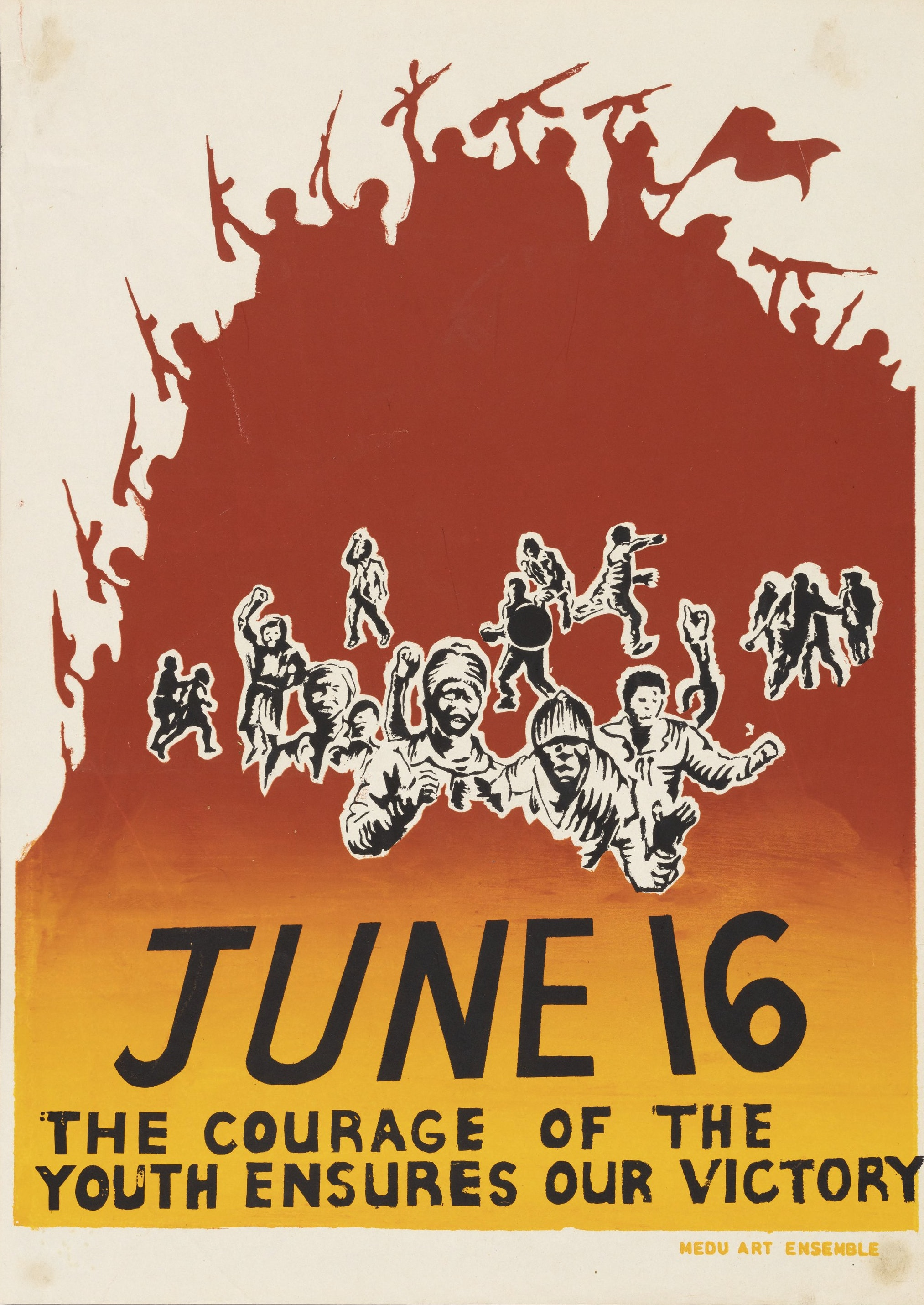 """A poster with a dominating red, orange, and yellow background and reads """"June 16: The Courage of the Youth Ensures Our Victory."""""""