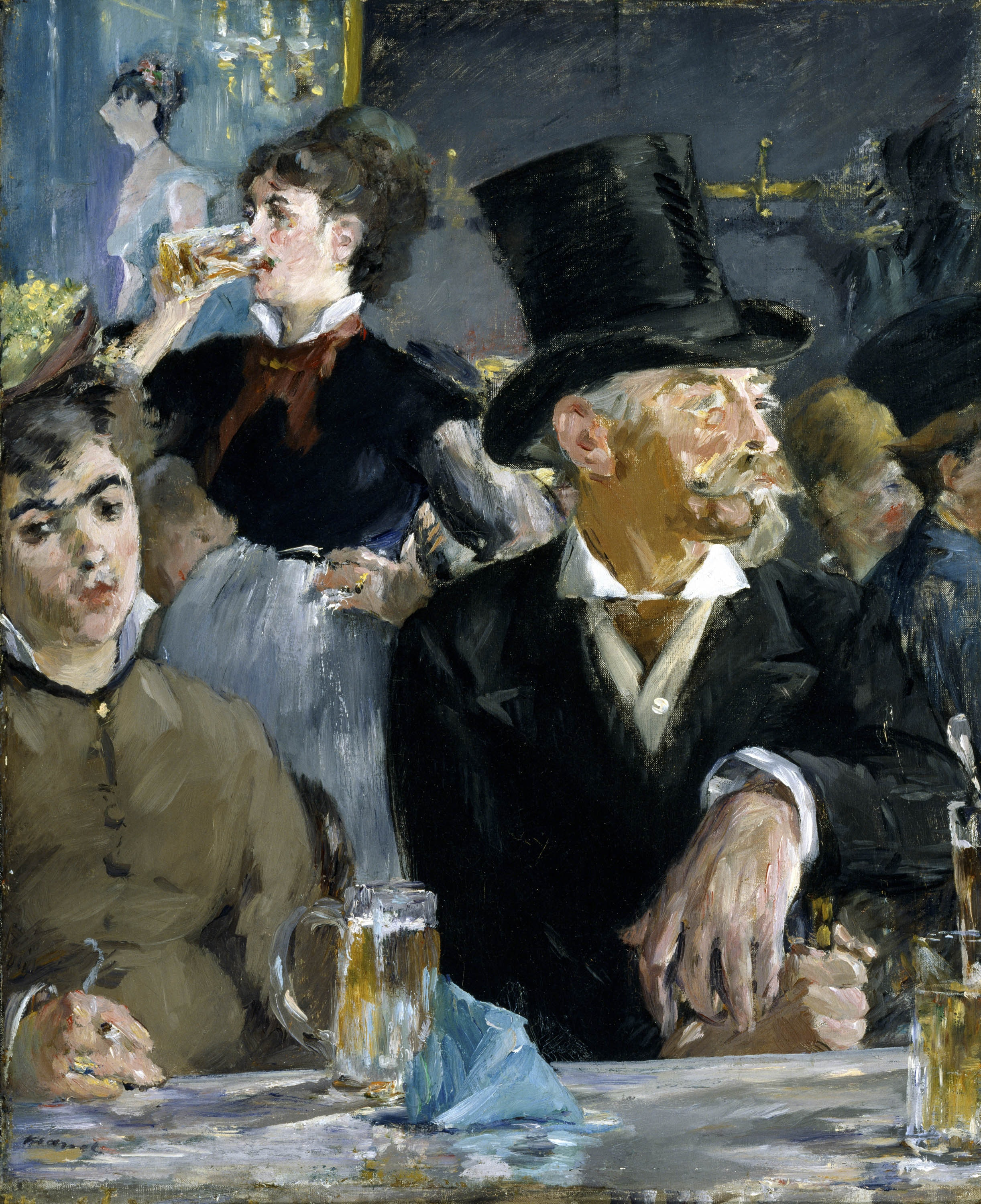 A painting shows patrons in a late 19th-century café looking about but not engaging with each other.
