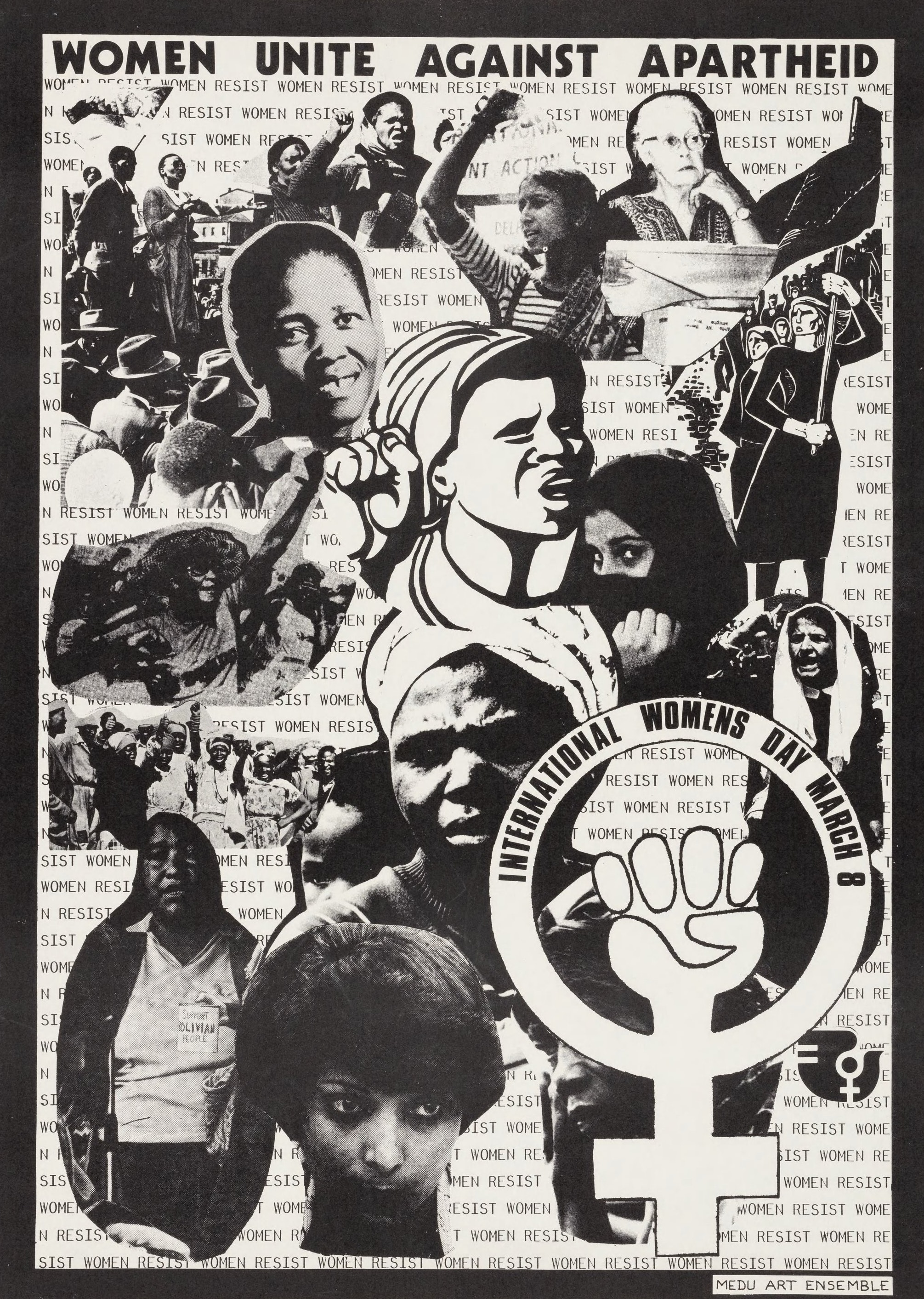 """A black and white collaged poster with images of women and the words """"Women Unite against Apartheid"""" at the top of the poster."""