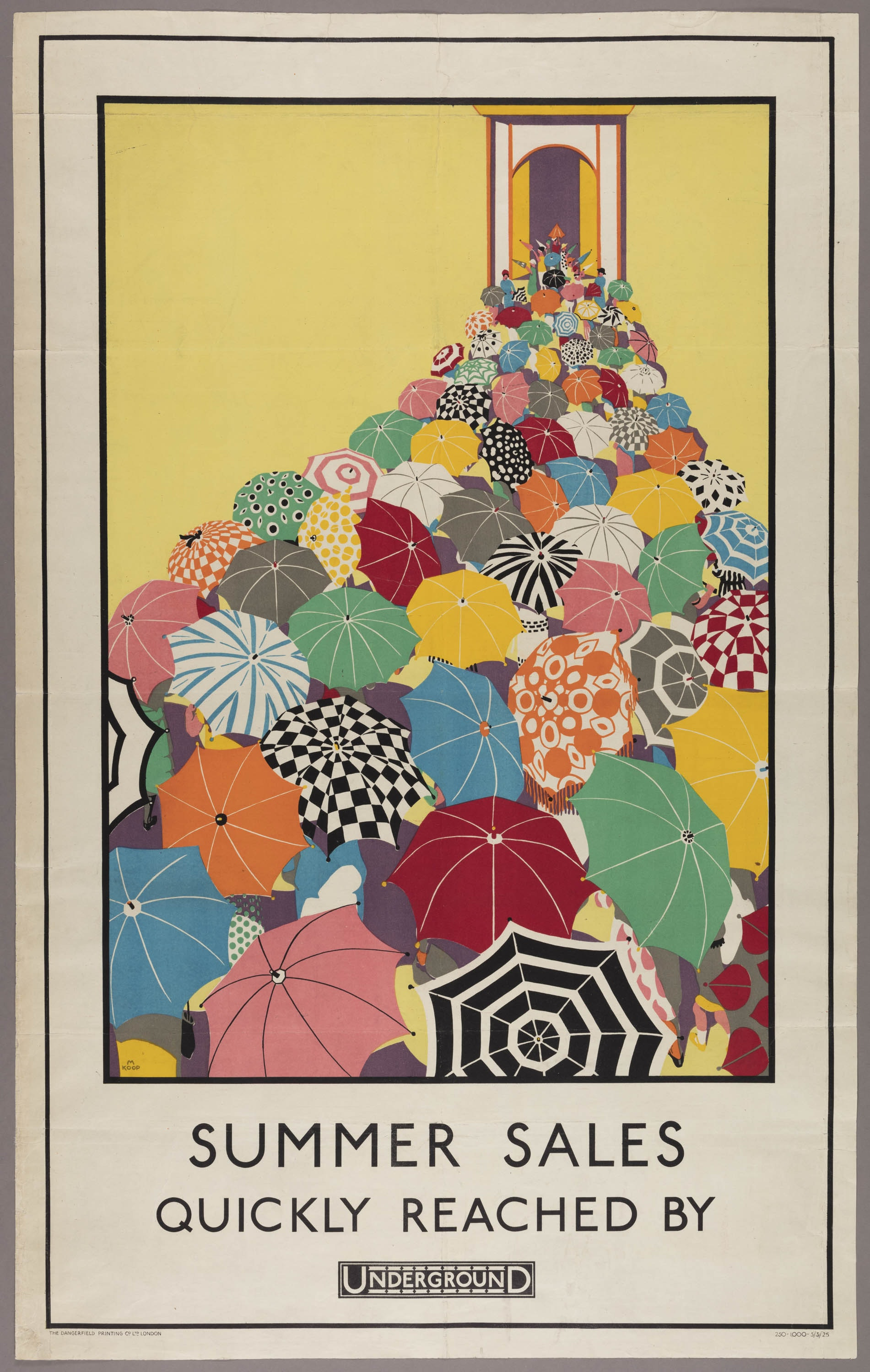 A poster for the London Underground that depicts colorful and patterned umbrellas on a bright yellow background.