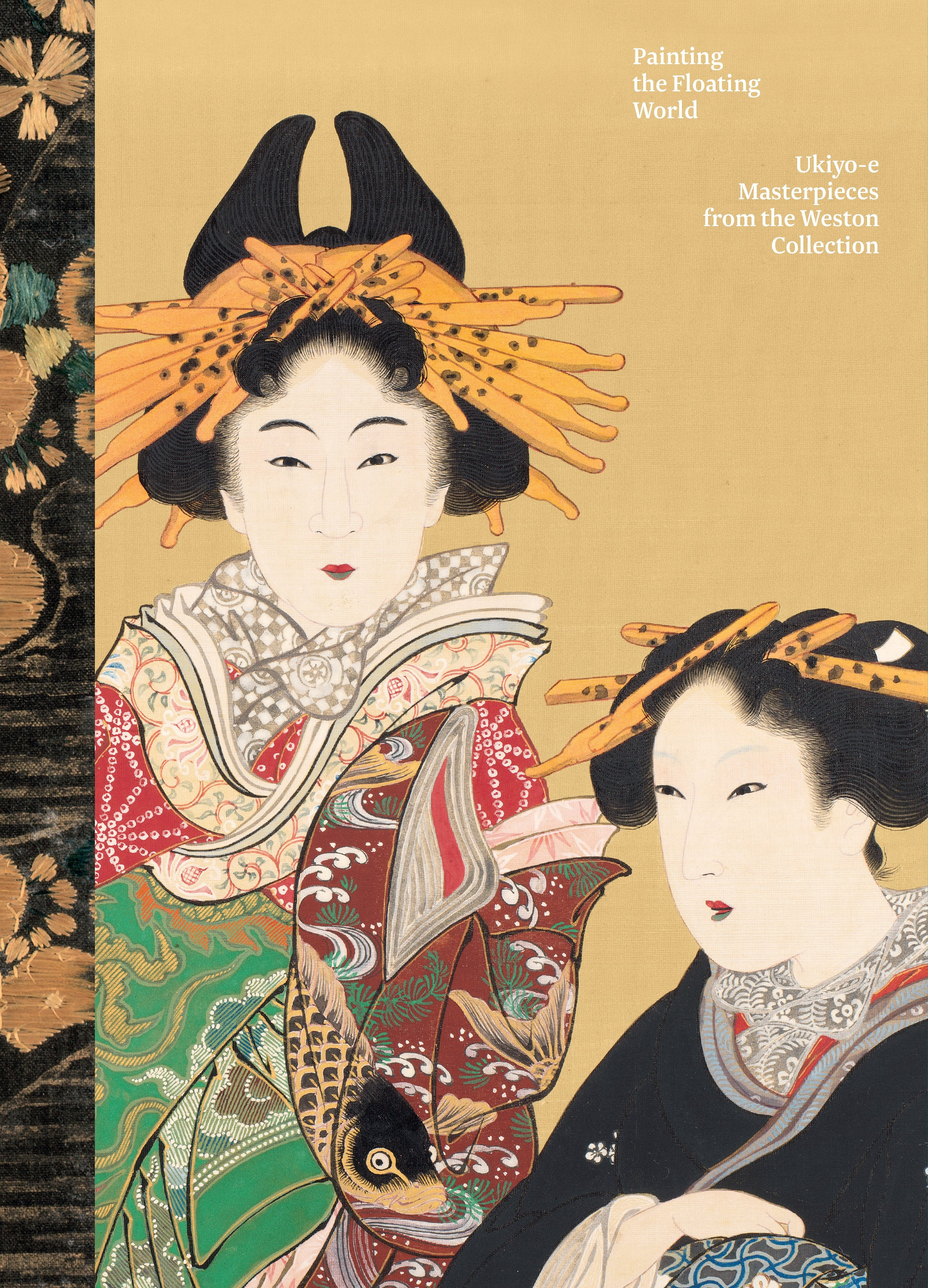 """The cover of the exhibition catalogue for """"Painting the Floating World,"""" highlighting a painting of two women with elaborate dress and hairstyles."""