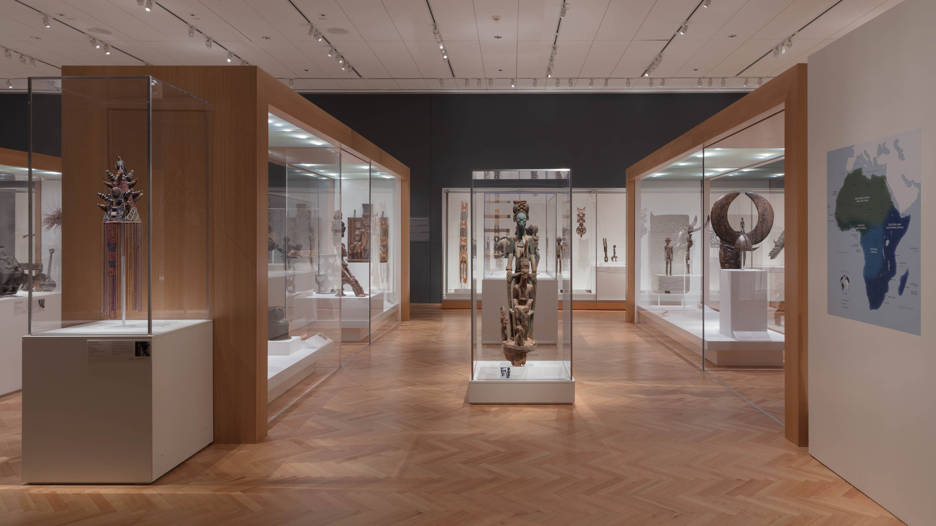 A photograph of the recently reinstalled African Art Gallery.