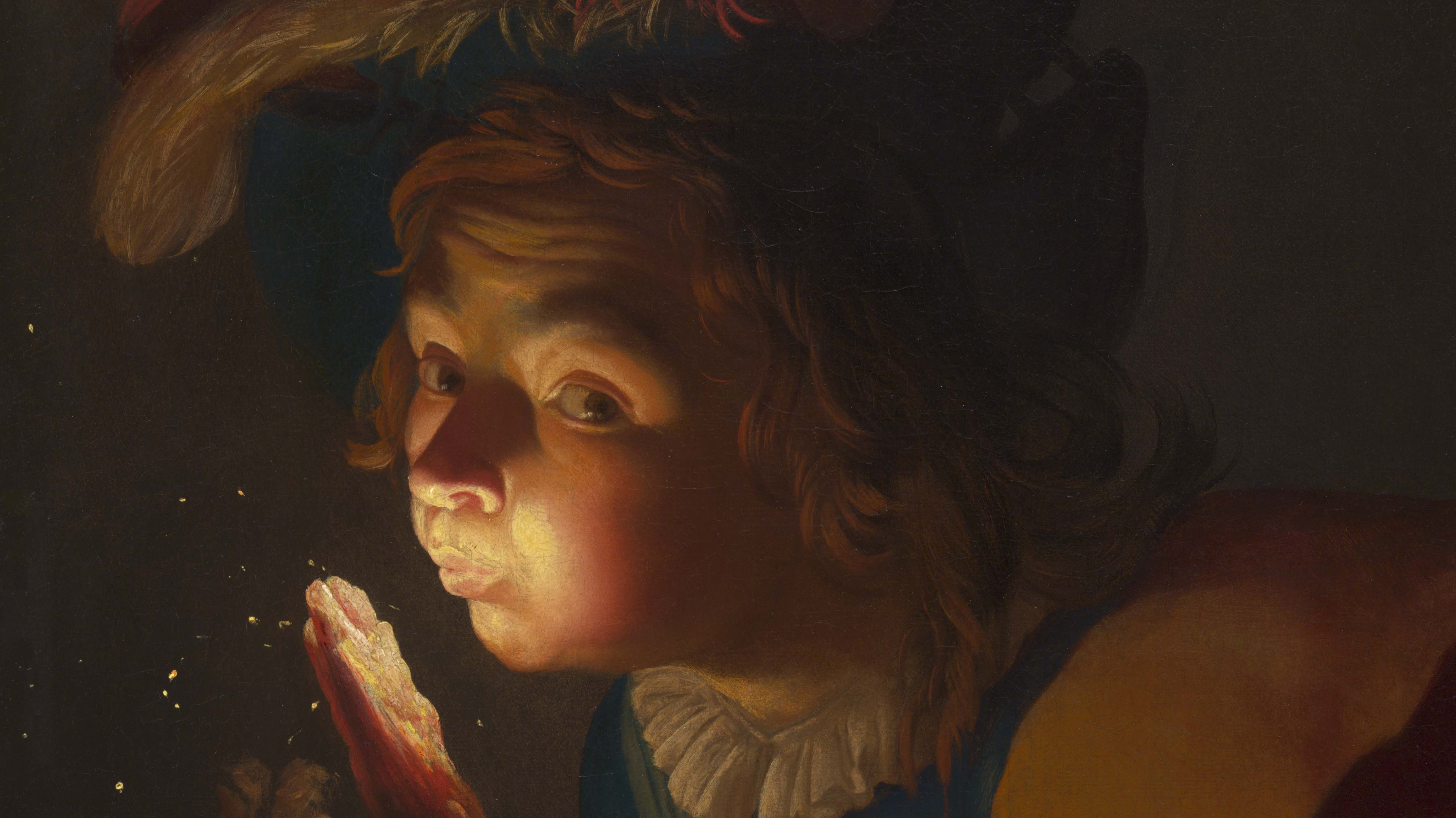 Gerrit van Honthorst painting from 1621/22 called A Boy Blowing on a Firebrand, 1621/22.