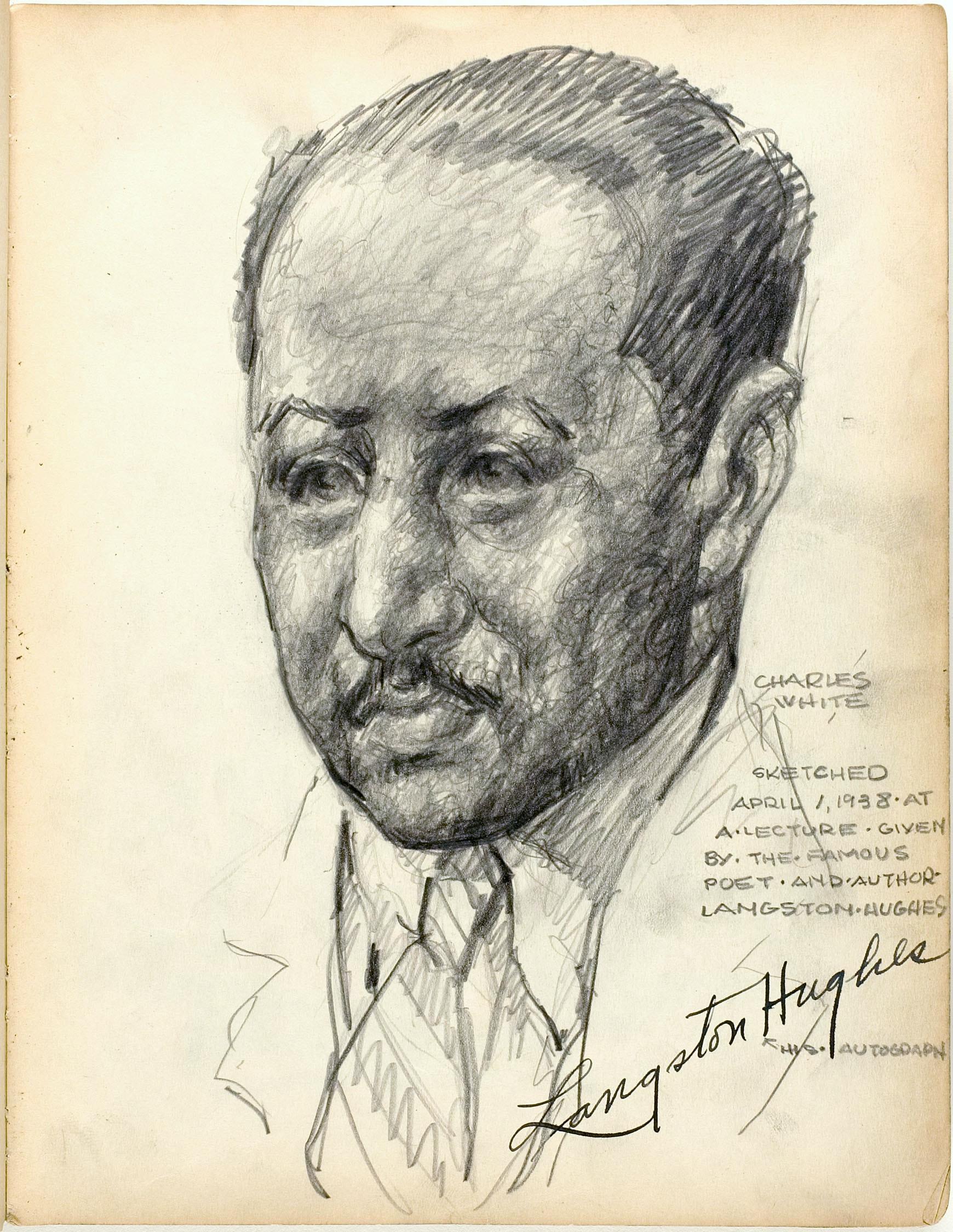 Charles White sketch of Langston Hughes