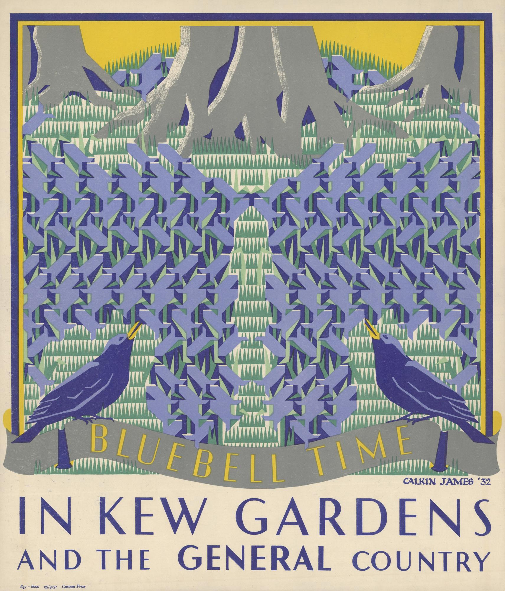 "Margaret Caulkin James: ""Bluebell Time in Kew Gardens"" (1931). Cartel de la colección digital ""Summertime Pleasures by Underground"". Imagen: Instituto de Arte de Chicago."