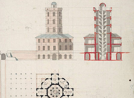 A drawing of architectural buildings