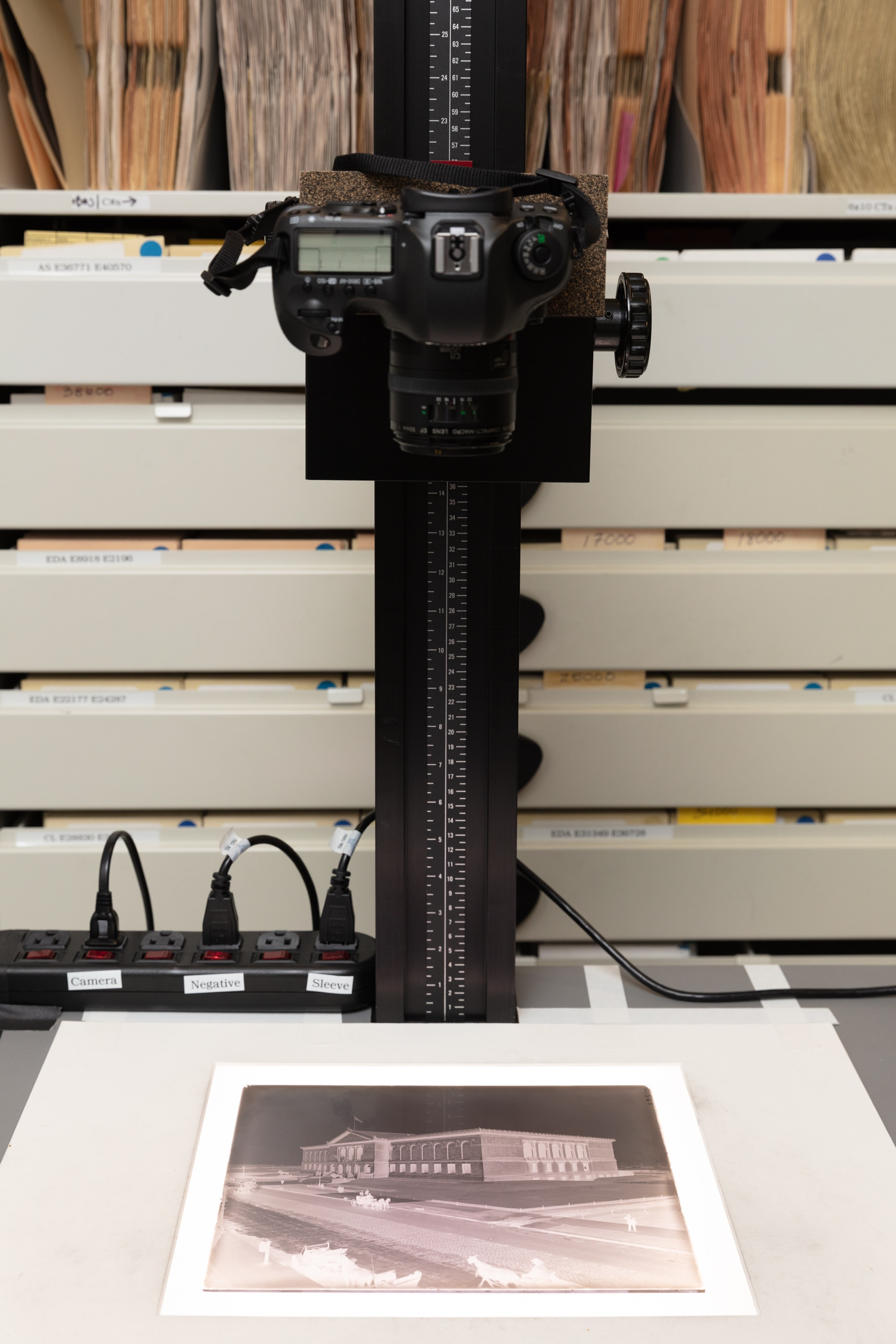 Lightbox and  DSLR camera used to digitize negatives and photos