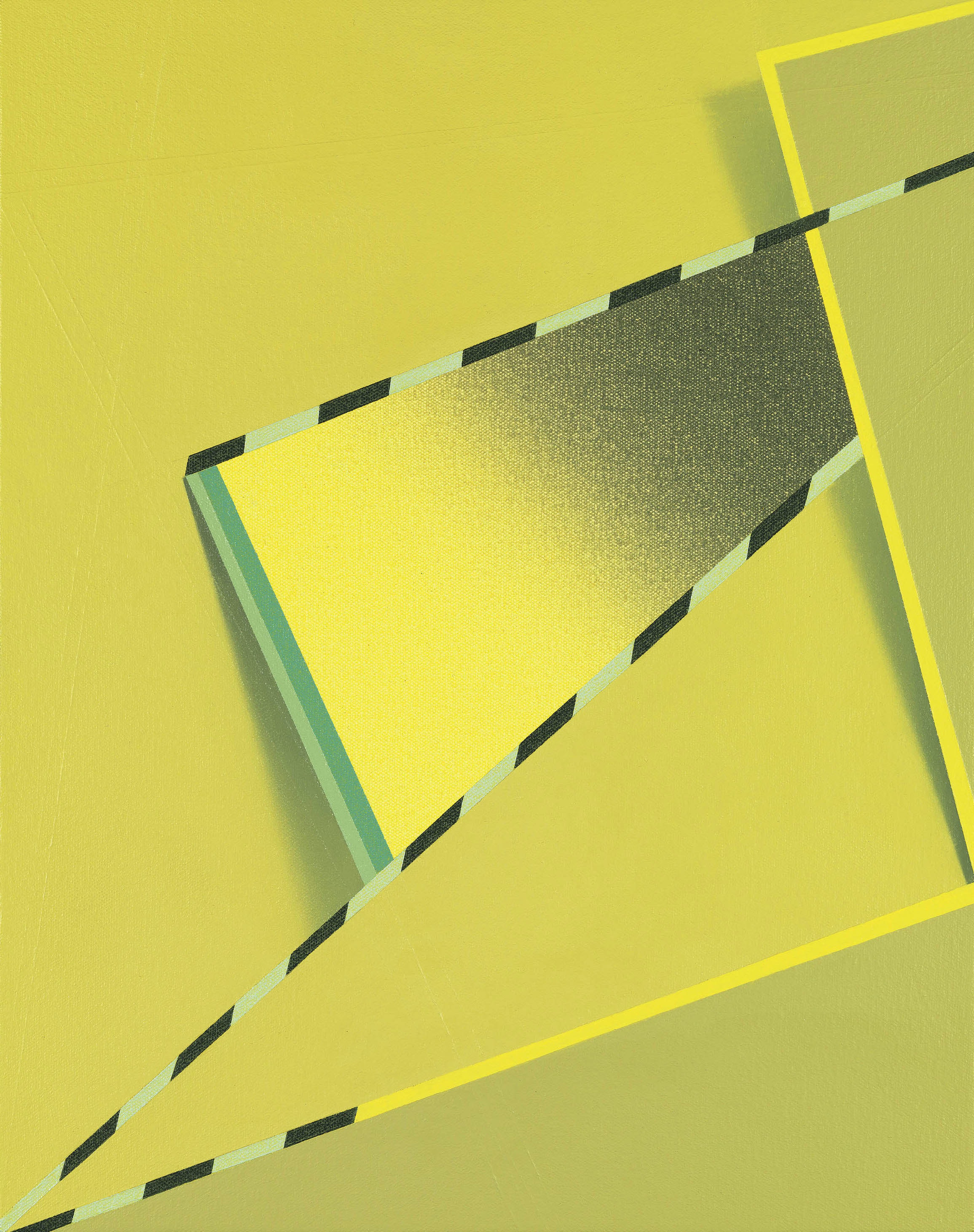 An abstract painting with a yellow background and crossed by diagonal green, black, and yellow dashed lines