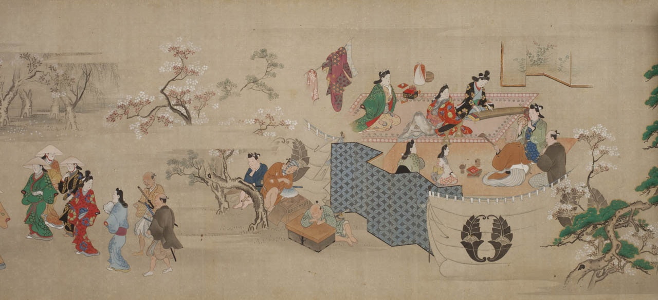 Several men and woman enjoy the pleasures of the floating world.