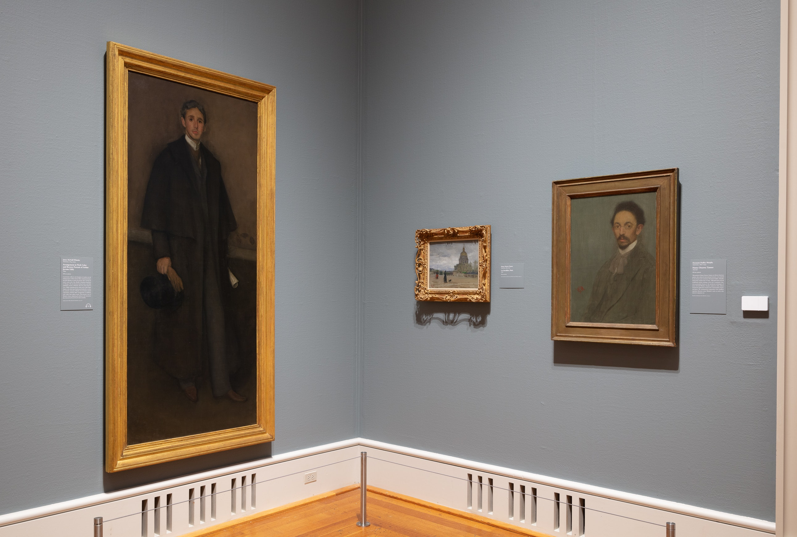 Corner of Gallery 273 featuring Whistler's portrait of Arthur Jerome Eddy and Murphy's portrait of Henry Ossawa Tanner