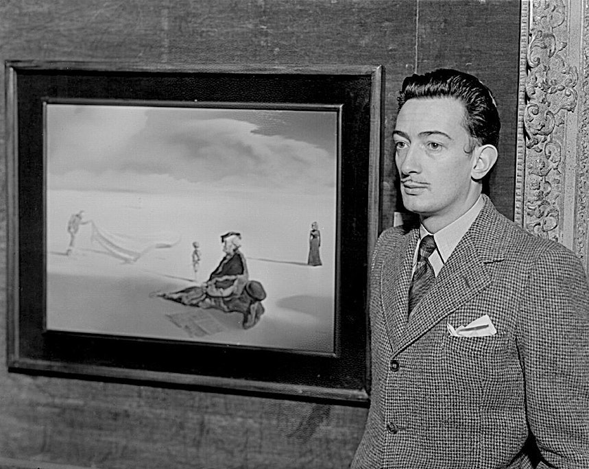 This middle-aged Salvador Dali's mustache is small and trim