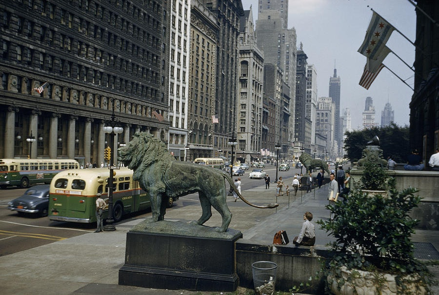 Photo of Art Institute and lions 1945