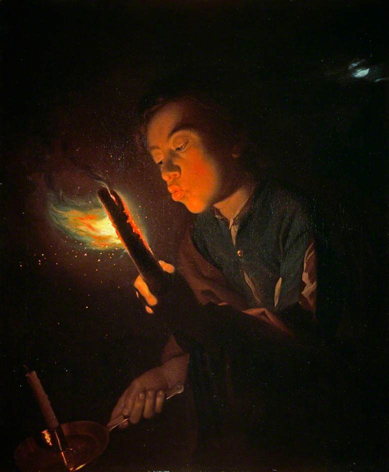 Godfried Schalcken's painting called A Boy Blowing On A Firebrand To Light A Candle from 1570–75