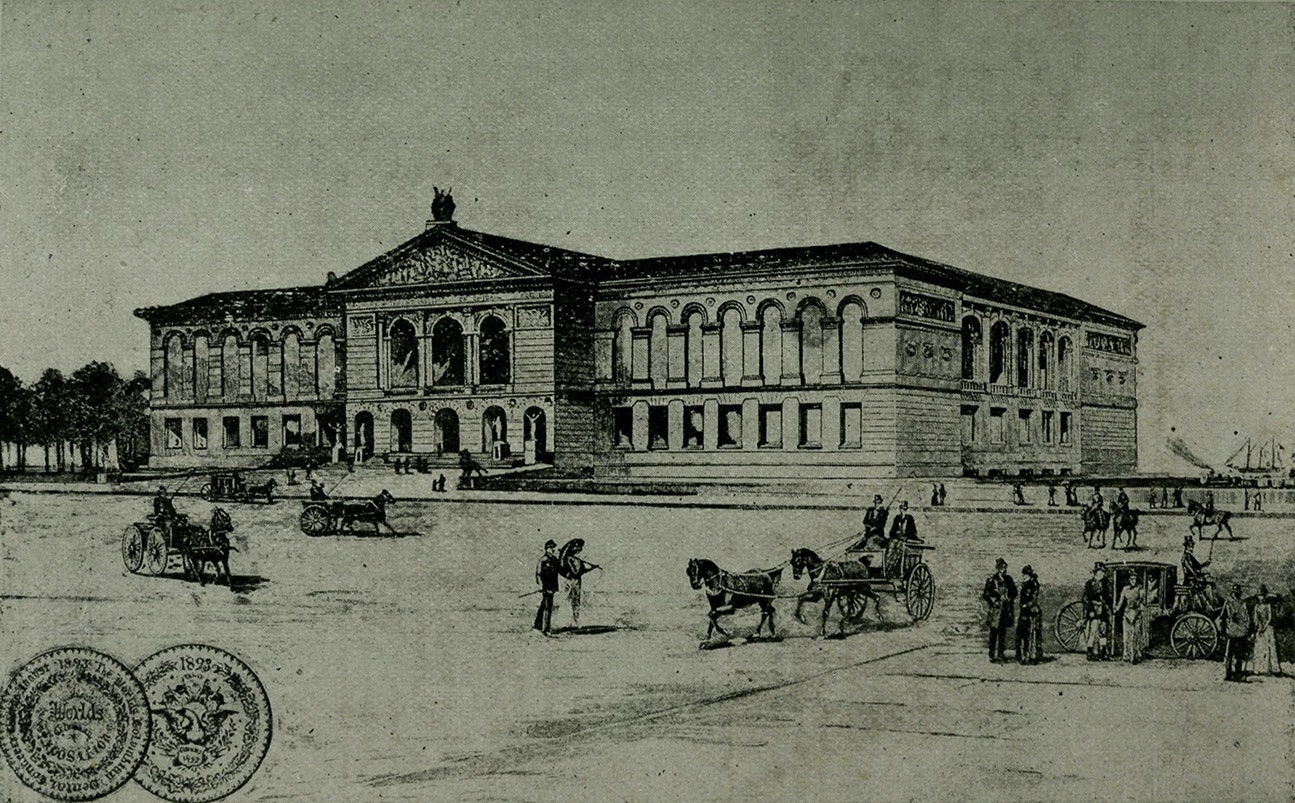 Drawing of the Art Institute with horses and wagons from 1893