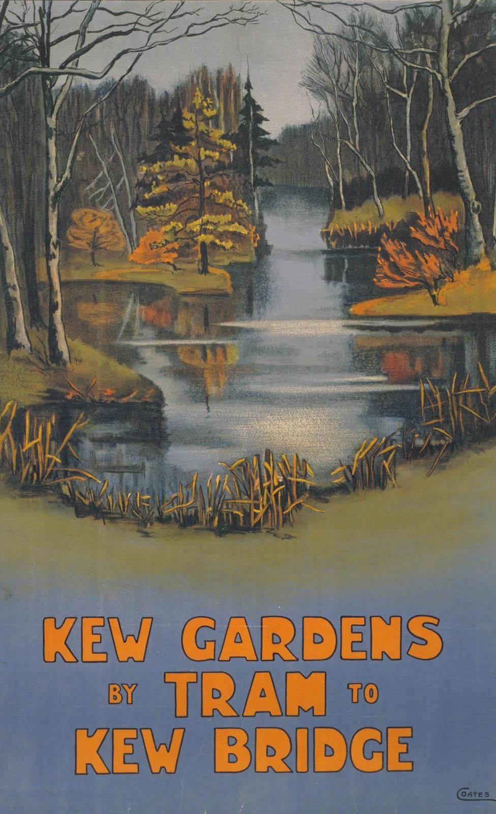 "Ella Coates: ""Kew Gardens by Tram"" (1910). Cartel de la colección digital ""Summertime Pleasures by Underground"".  Imagen: Instituto de Arte de Chicago."