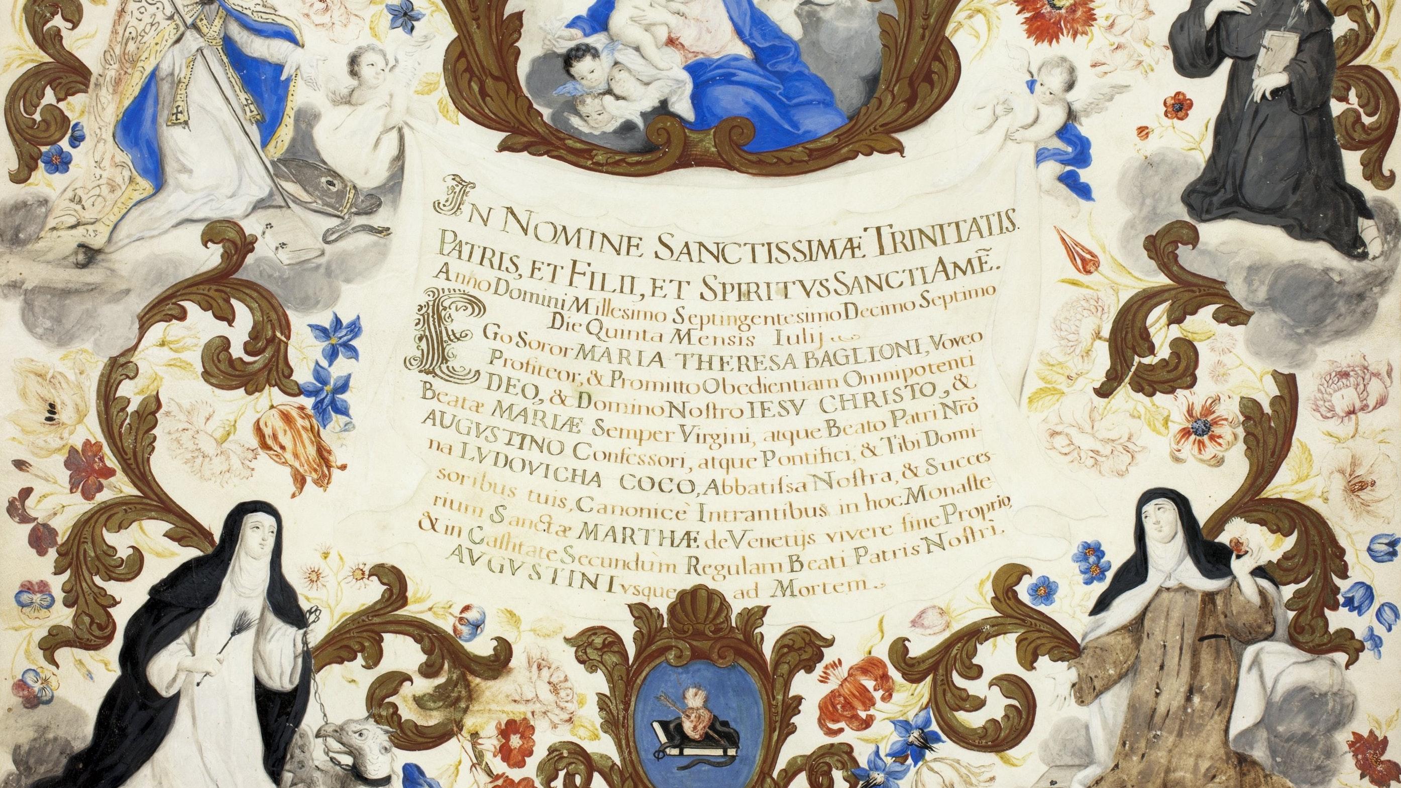 1927.7712 Investiture Certificate Of Sister Maria Theresa Baglioni