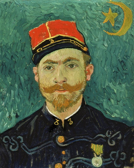 A portrait by Vincent van Gogh of a young man who was a French soldier. The man is dressed in dark blue army dress, wears a red cap, and has a mustache and beard. The background of the portrait is a vibrant emerald green.