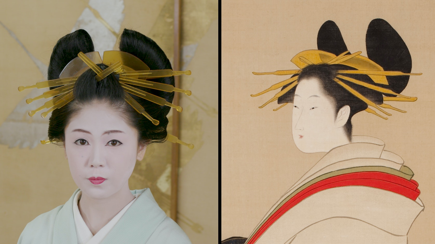 Ukiyo E Hairstyle in artwork and on liviing model