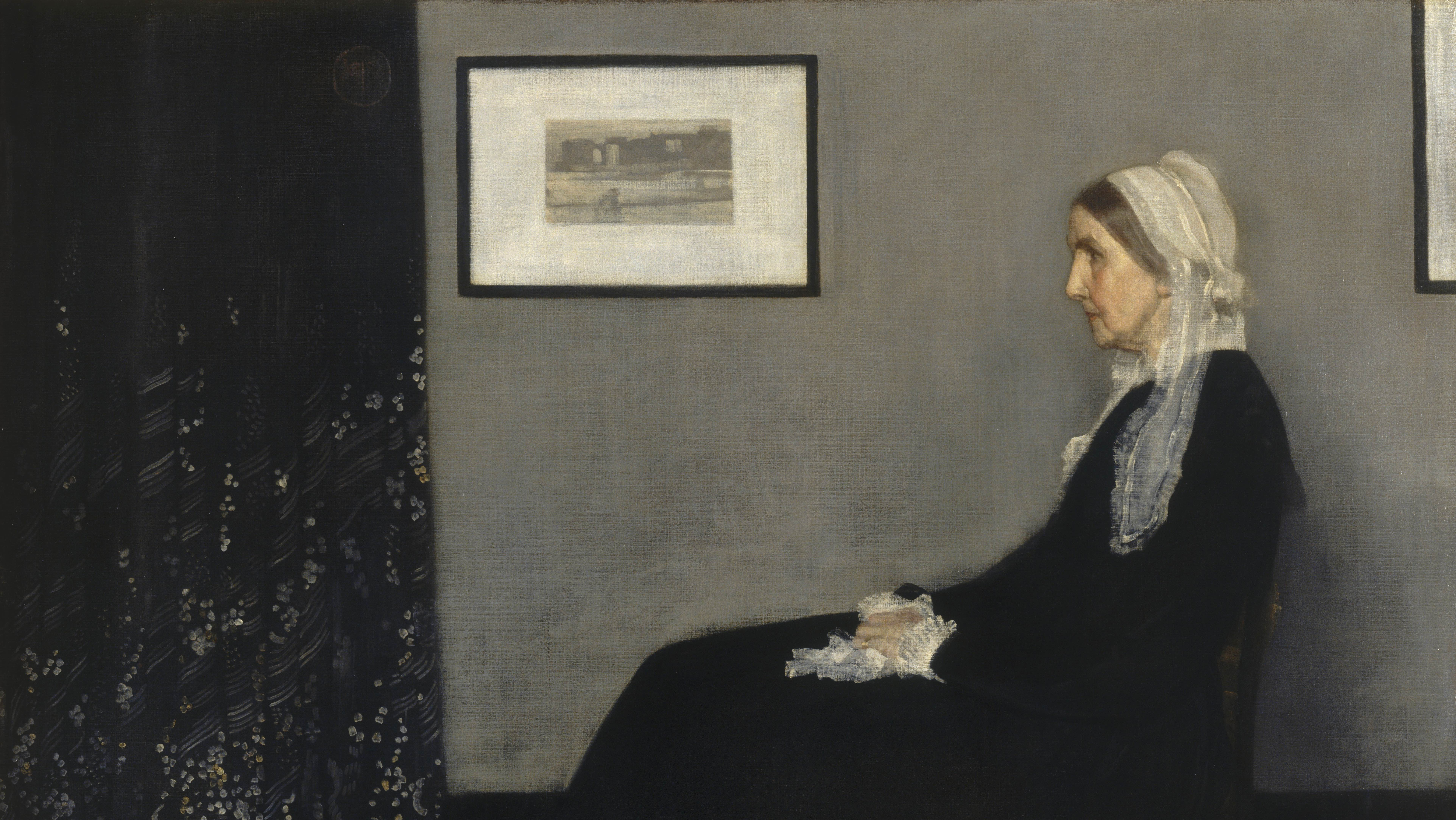 A painting of a woman dressed in black sitting in a chair parallel to a gray wall.