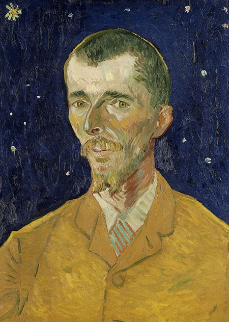 A portrait by Vincent van Gogh of a man with a long thin face dressed in an orange blazer or coat. The background is a dark blue nighttime sky with white stars.