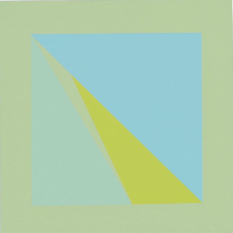 A silkscreen of a green square with a blue, greed, and yellow triangle inside.