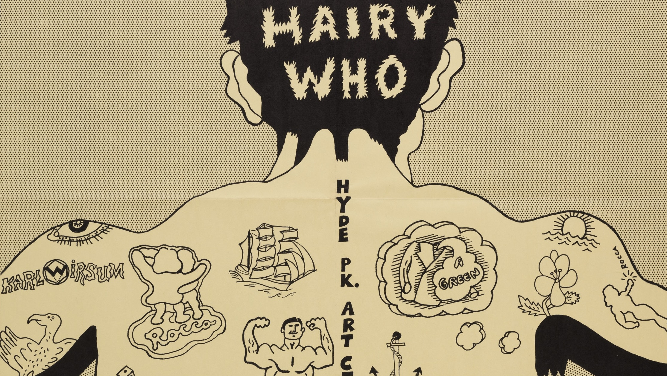 Cover of Hairy Who catalog with contributions from each member of the group