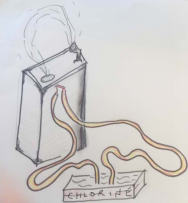 A hand-drawn sketch shows a drinking fountain connected by tubing to a tray of chlorine.