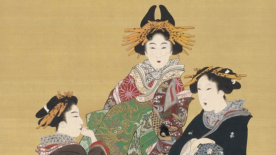 Three women dressed in exquisitely decorated robes stand around a large vat tasting not vinegar, as the title suggests, but sake.