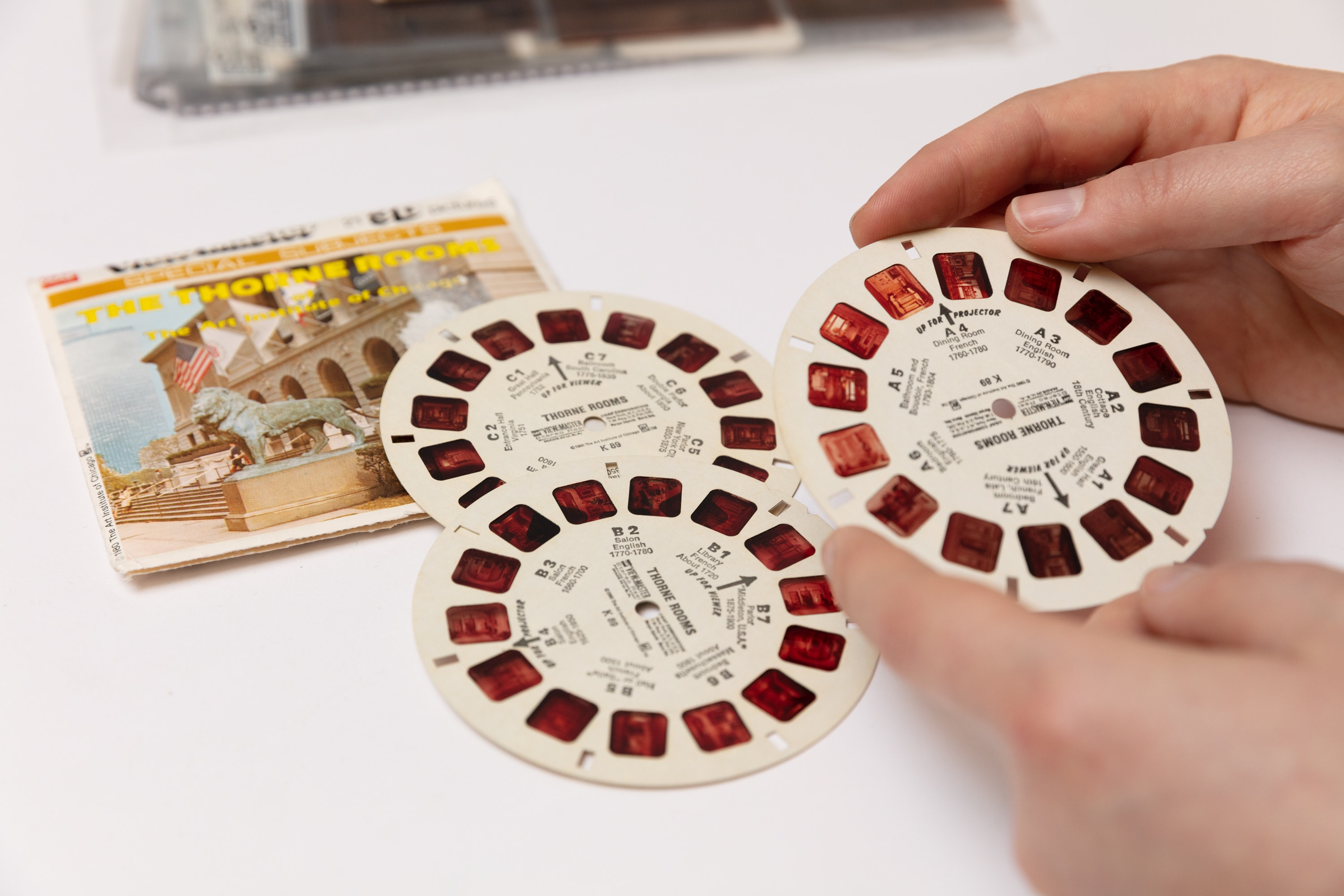 Photo of Viewmaster image wheel featuring the Thorne Rooms