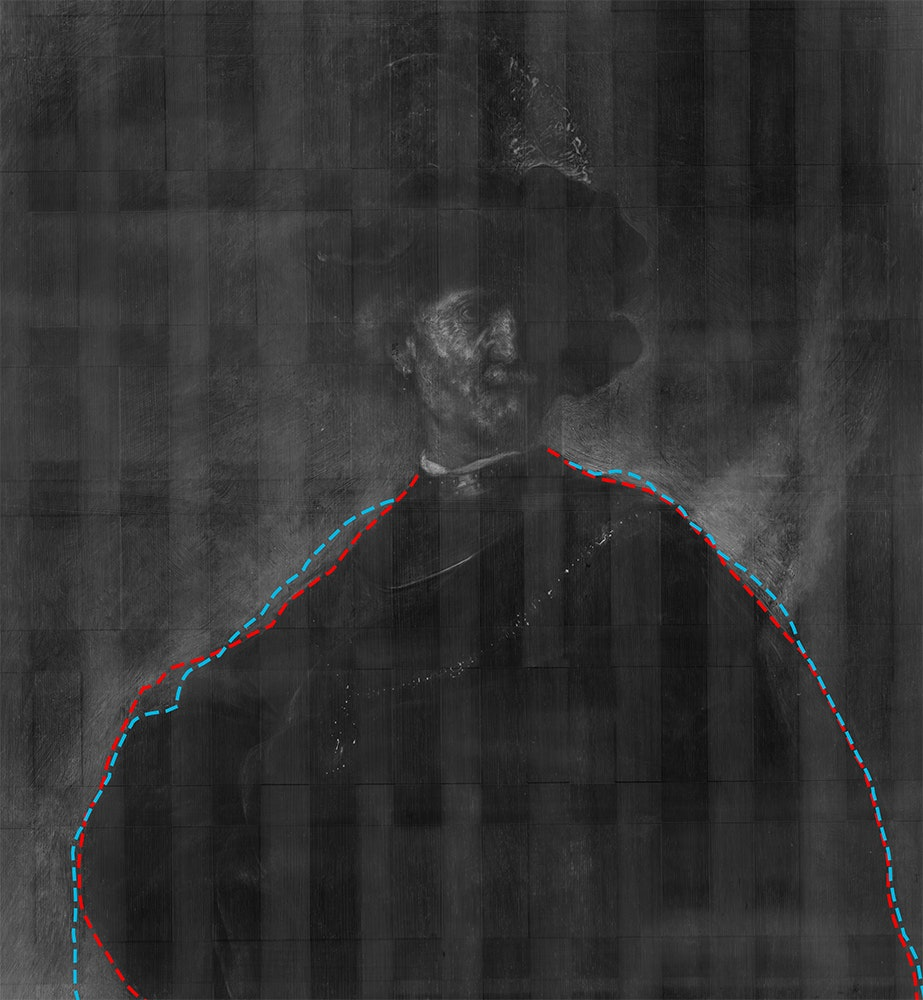 Lines drawn over X-ray of Rembrandt's Old Man with a Gold Chain show how he changed the line of the shoulder.