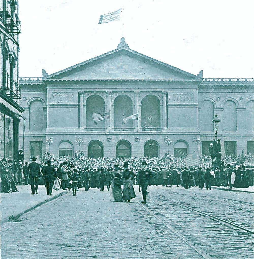 A picture of the museum's Michigan Avenue building on opening day in 1893.