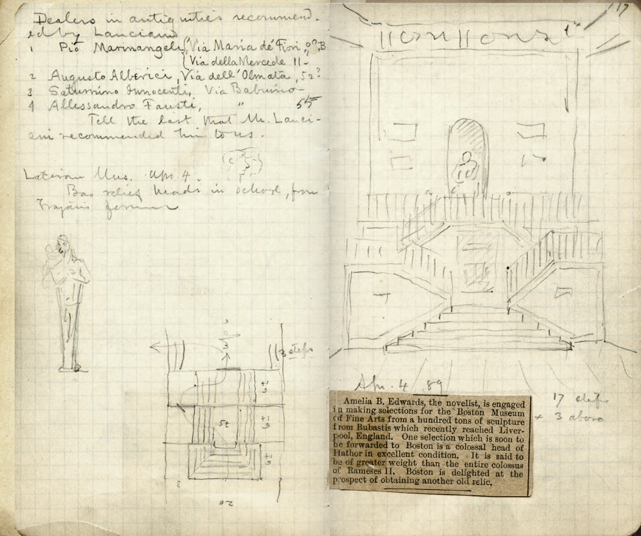 Noteook page that shows sketch of staircase