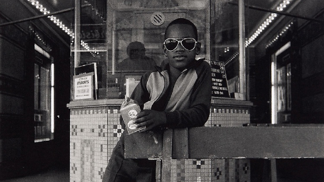 Boy In Front Of The Loews 125 Street Movie Theater