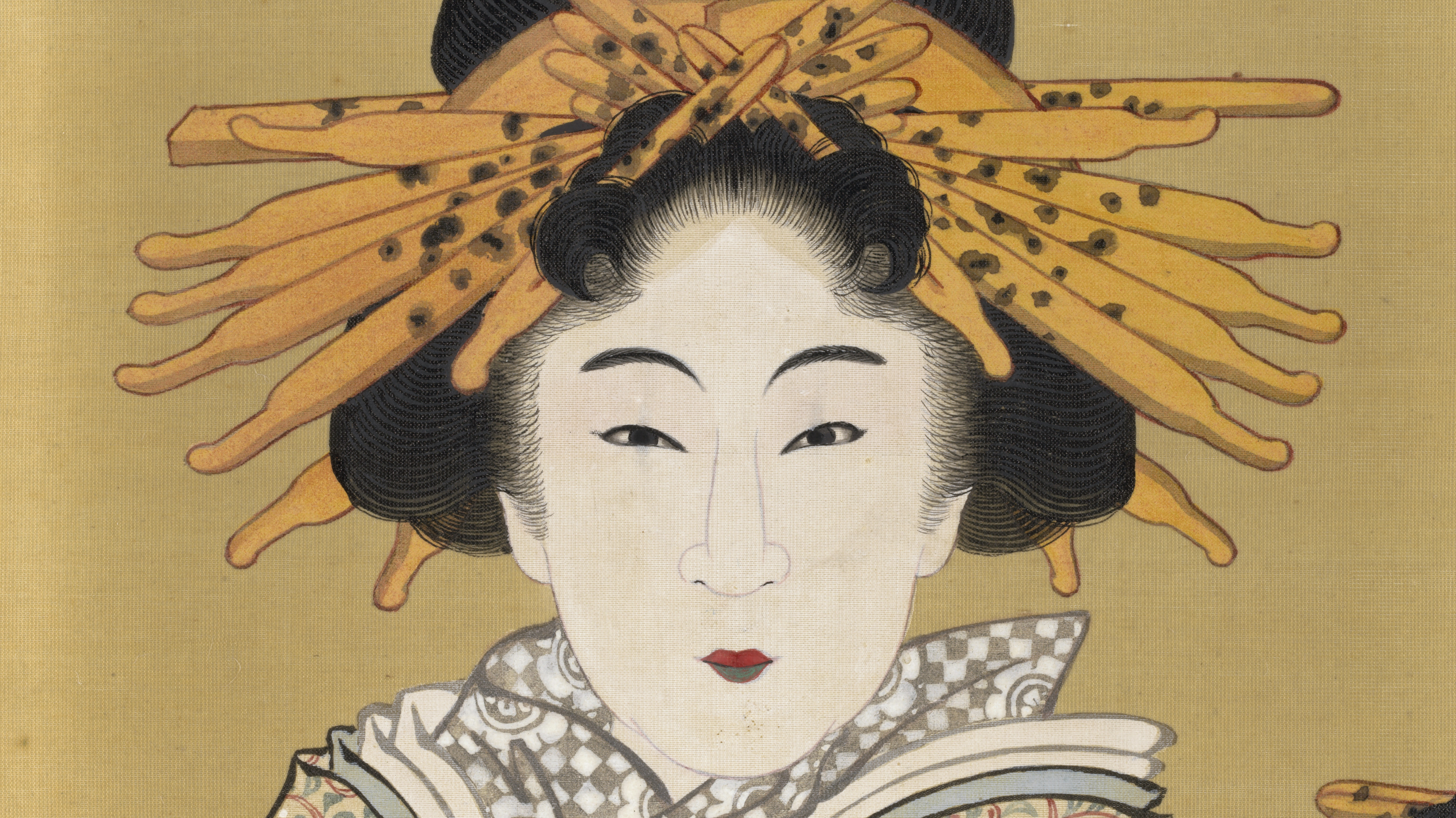 A Japanese courtesan with an elabroate hairstyle looks directly at the viewer