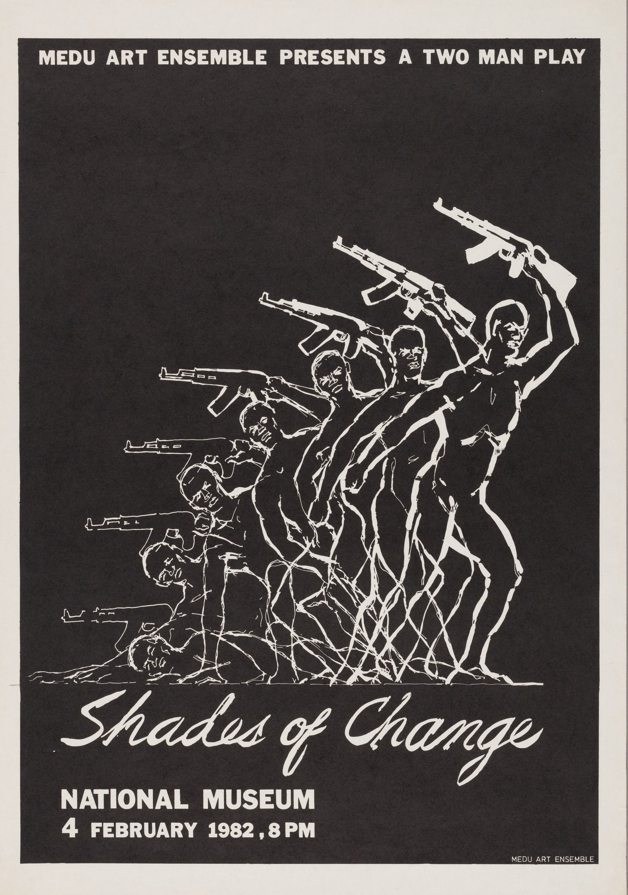 """A black and white poster with images of fighters and the words """"Shades of Change"""" beneath."""