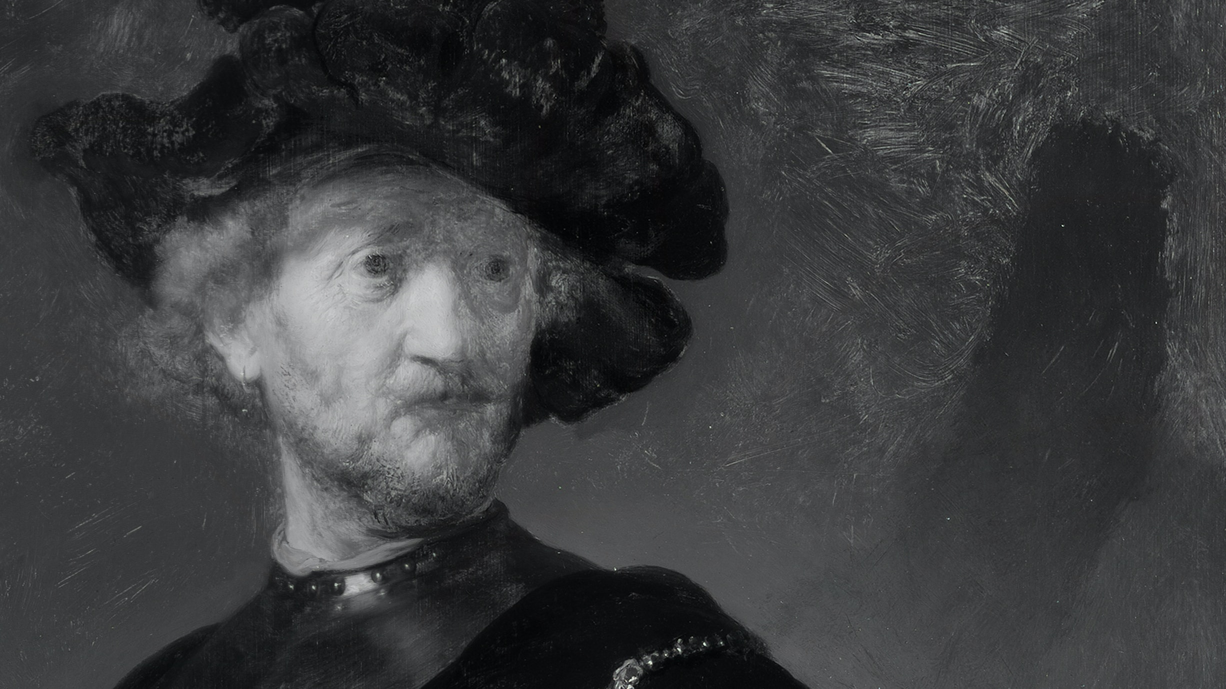 Infrared phtography of Rembrandt's Old Man with Gold Chain that show a hidden shadow on the wall behind the figure.