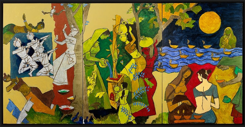 A colorful triptych painting depicting three traditional Indian festivals.