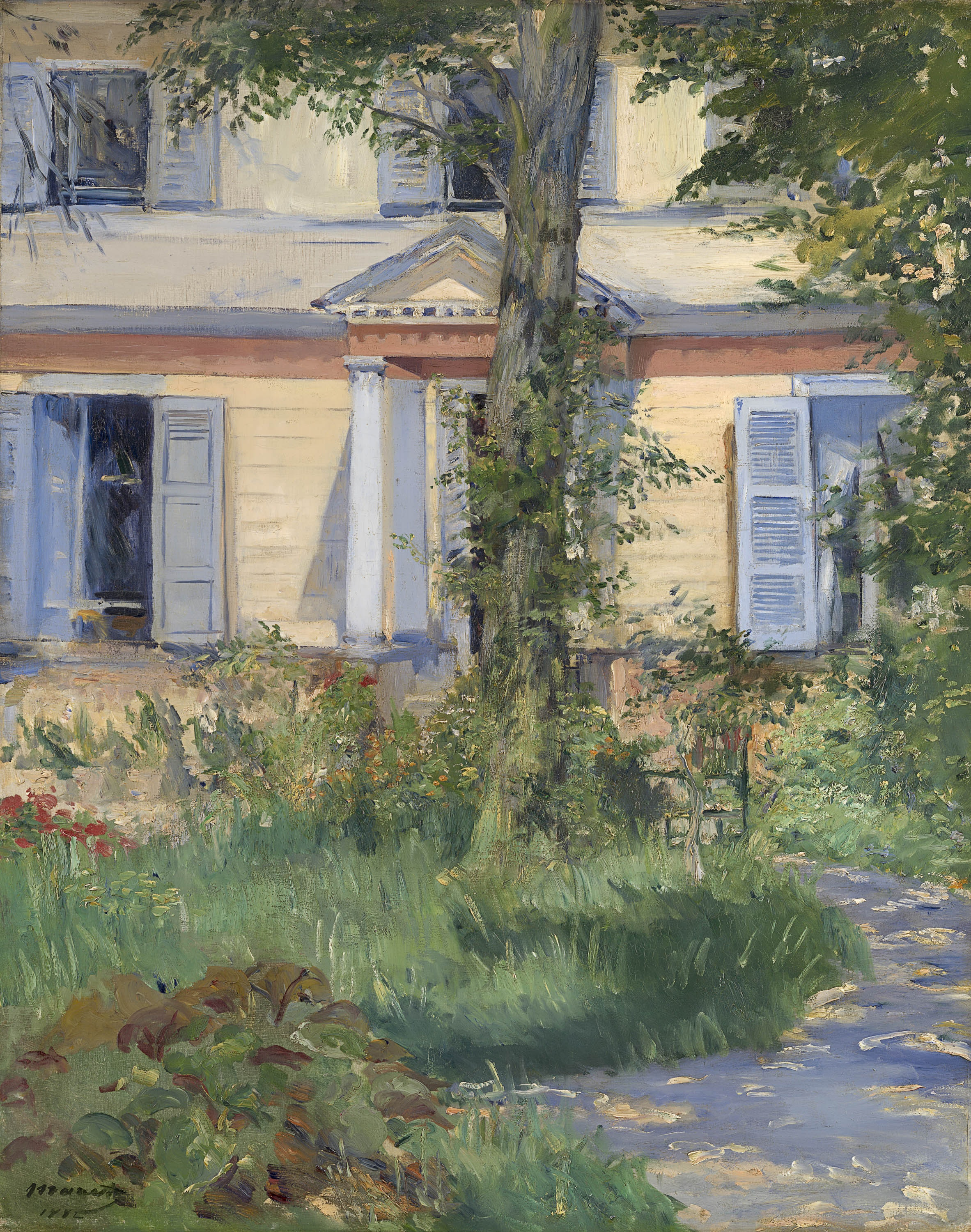 A painting shows a pink house through a lushly planted garden.