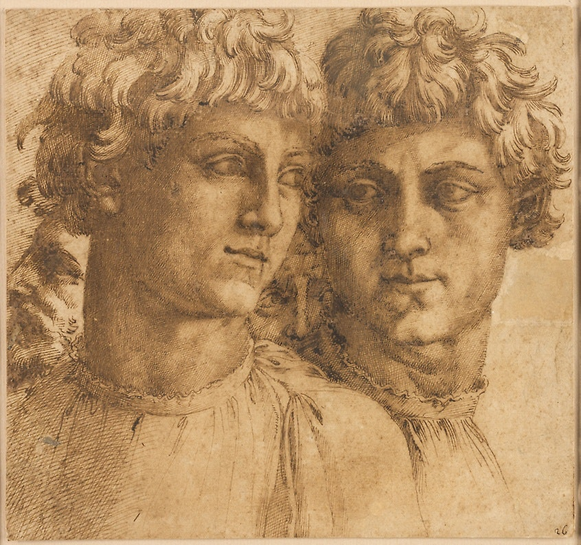 A drawing of two young men with heads angled toward each other.