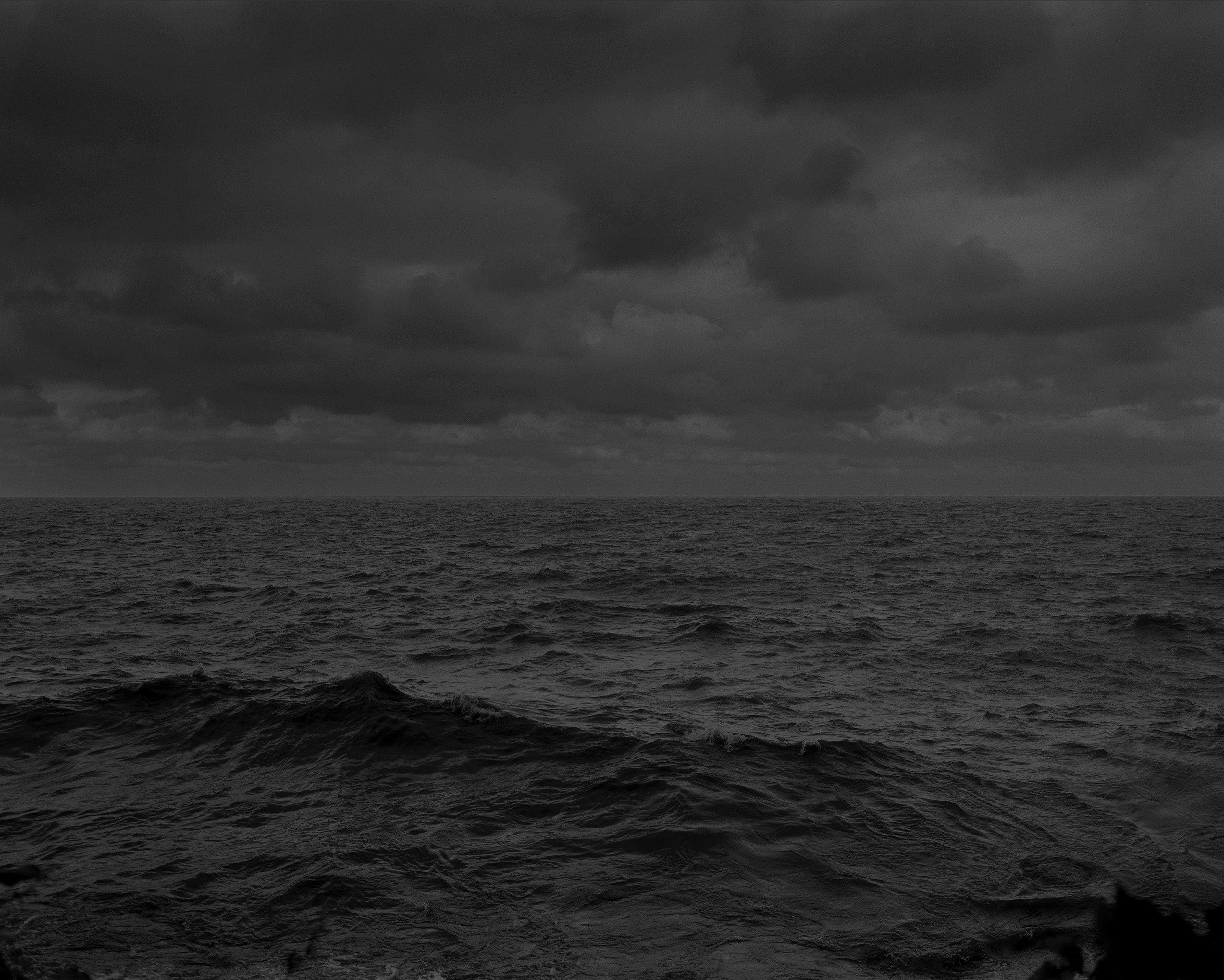 A black and white photo of the water in Lake Erie.