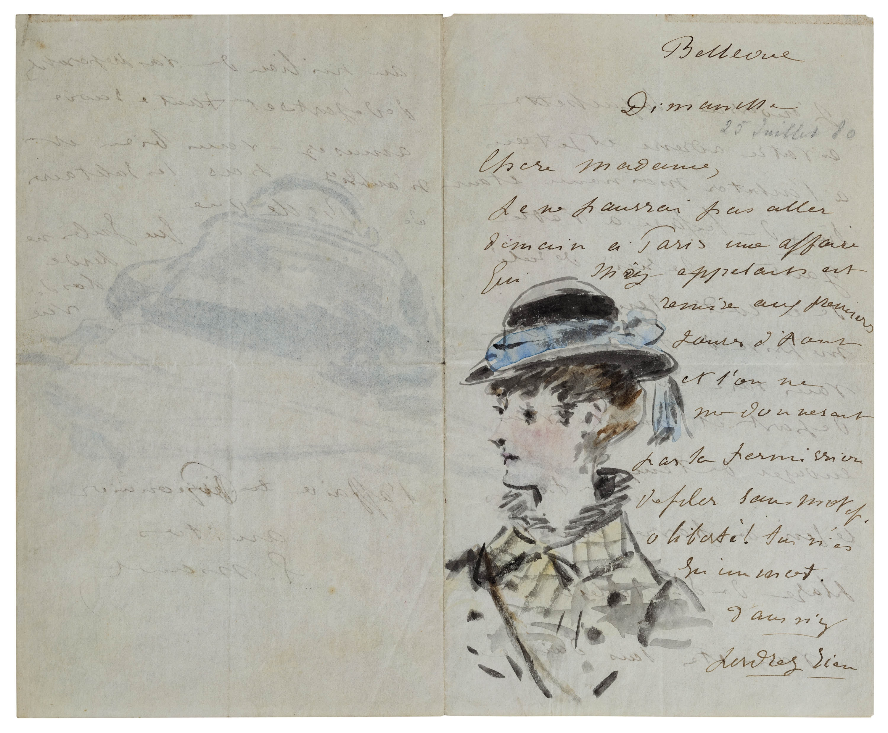 A letter in French includes a sketch of a young woman in a stylish hat and jacket.