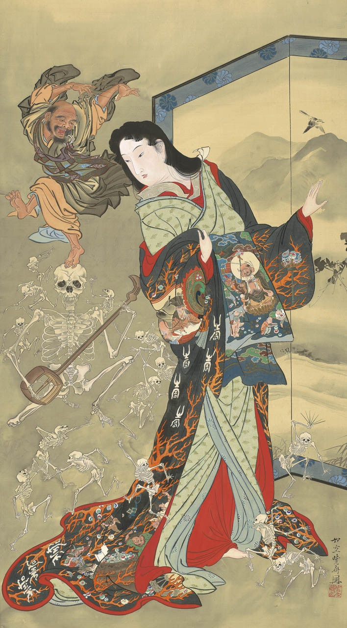 A Japanese woman in robes decorated with images of hell looks over her shoulder at skeletons dancing behind her.