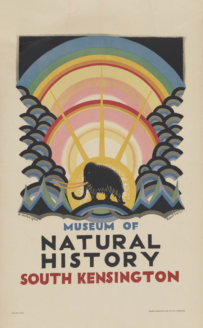 "Cartel de la colección digital ""Summertime Pleasures by Underground"". Edward McKnight Kauffer: Museum of Natural History (1923). Imagen: Instituto de Arte de Chicago."