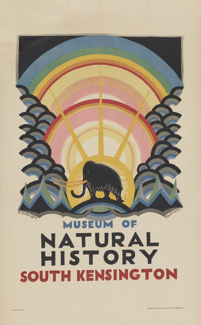 A poster for the Museum of Natural History in South Kensington shows the silhouette of a wooly mammoth in profile at the base of radiating circles of color.