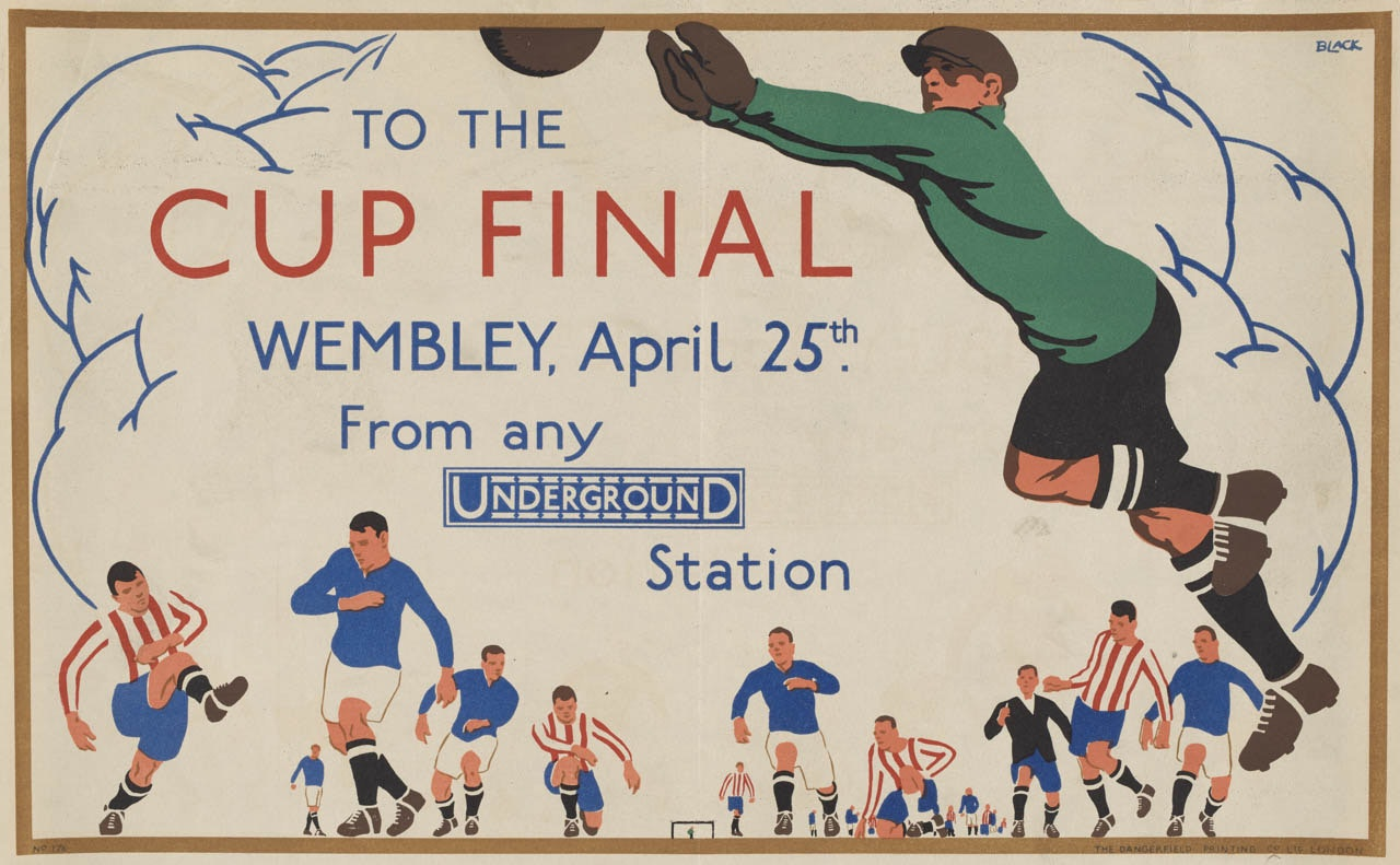 A poster for the Wembley Cup Final shows in the foreground a rugby player leaping into the air to catch the ball, while smaller figures at the bottom of the poster run toward the action.