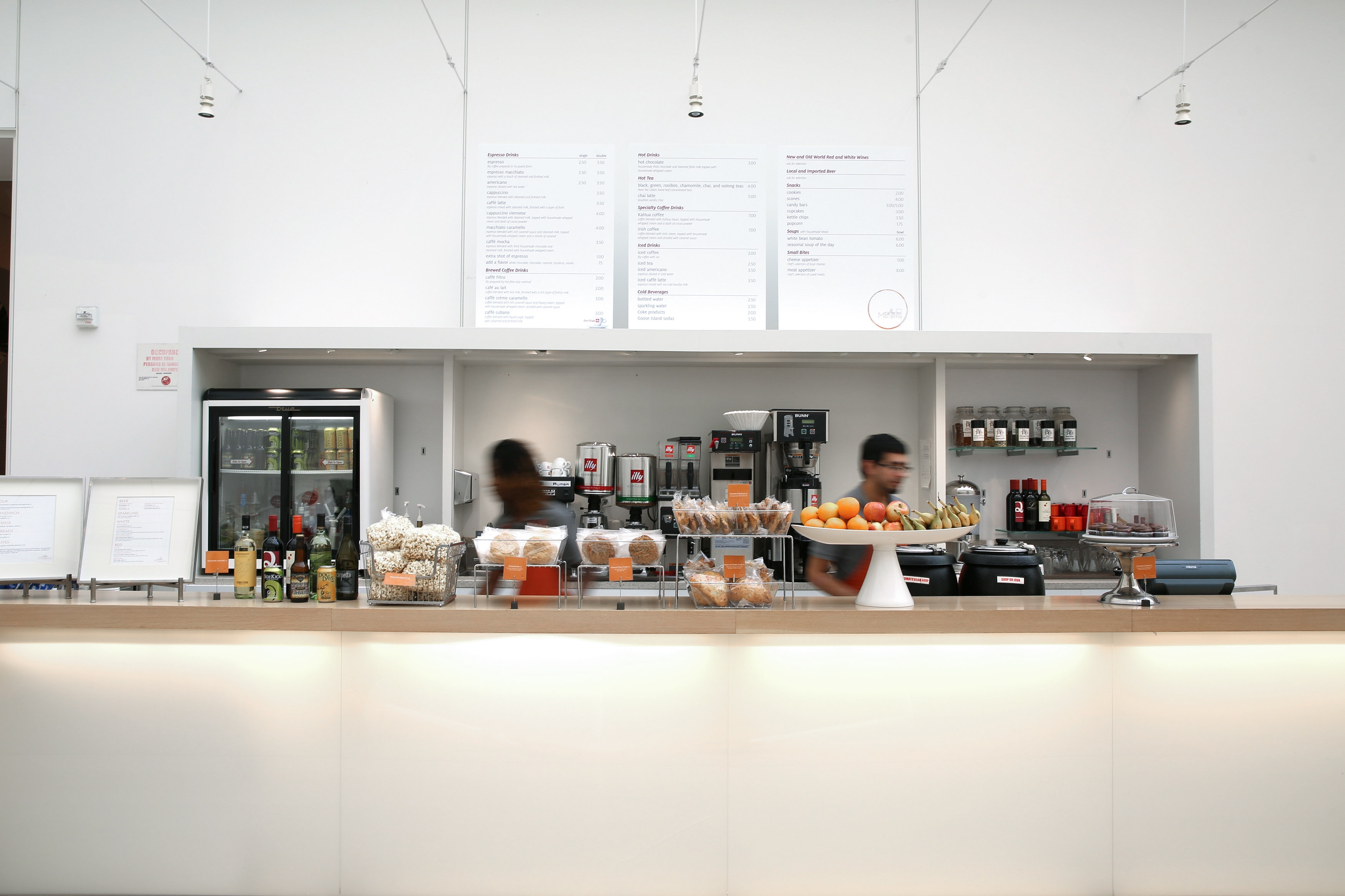 The counter and menu for Caffe Moderno