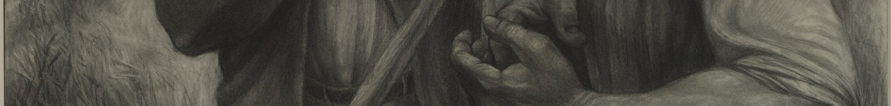 Detail image of a charcoal sketch of a man's hands, 1991.126